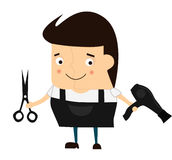 Cartoon cute barber. Hairdresser with scissors and a hair dryer. Royalty Free Stock Images