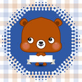 Cartoon cute bear holding a banner with copy space Stock Photography