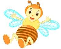 Cartoon cute bee pointing vector. vector illustration