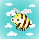 Cartoon cute bees on sky with clouds. Illustration stock illustration