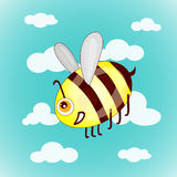 Cartoon cute bees on sky with clouds. Illustration vector illustration
