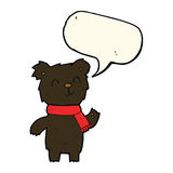 Cartoon cute black bear cub with speech bubble Stock Images