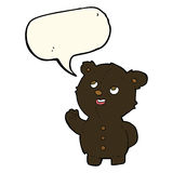 Cartoon cute black bear cub with speech bubble Stock Photo