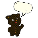 Cartoon cute black bear cub with speech bubble Stock Image