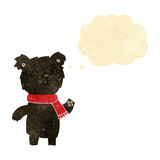 Cartoon cute black bear cub with thought bubble Royalty Free Stock Images