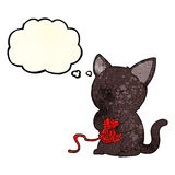 cartoon cute black cat playing with ball of yarn with thought bu Royalty Free Stock Photos