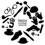 Cartoon cute black doodles hand drawn Detective and criminal illustration. Vector Stock Images