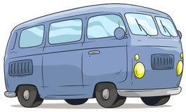 Cartoon cute blue retro van bus vector icon. Cartoon cute blue retro van or bus isolated on white background. Vector icon stock illustration