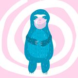 Cartoon cute blue sloth inflates vector illustration