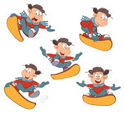 Cartoon of Cute Boys Snowboarding Royalty Free Stock Images