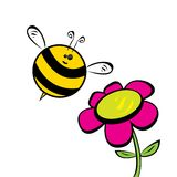 Cartoon cute bright baby bee. vector illustration. Royalty Free Stock Images