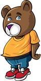 Cartoon cute brown bear. Isolated on white Royalty Free Stock Photos