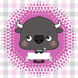 Cartoon cute bull holding a banner with copy space Royalty Free Stock Photography