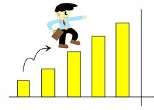 Cartoon cute businessman run up on graph Royalty Free Stock Images