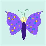 Cartoon cute butterfly Stock Photography
