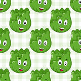 Cartoon Cute Cabbage Seamless Pattern Stock Photos