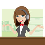 Cartoon cute call center using headphone Royalty Free Stock Photo