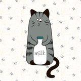 Cartoon cute cat with bottle of milk. Stock Image
