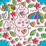 Cartoon cute cat butterfly cloud line style seamless pattern. This illustration is cartoon cute with cat, butterfly, cloud and element in stylish line seamless Royalty Free Stock Photos