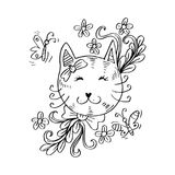 Cartoon cute cat with floral. Red background Stock Photos