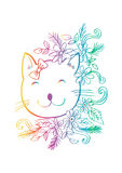 Cartoon cute cat with floral. Stock Image