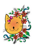 Cartoon cute cat with floral. Royalty Free Stock Photography