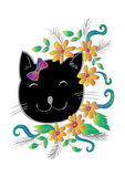 Cartoon cute cat with floral. Royalty Free Stock Image