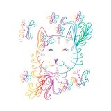 Cartoon cute cat with floral. Red background Stock Images