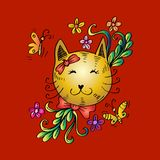 Cartoon cute cat with floral. Red background Stock Photo