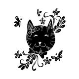 Cartoon cute cat with floral. Red background Royalty Free Stock Images