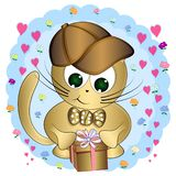 Cartoon cute cat with gifts. Greeting card. vector illustration vector illustration