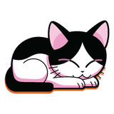 Cartoon Cute Cat Sleeping Isolated On White Background Royalty Free Stock Photography