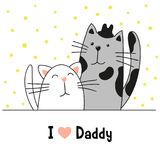 Cartoon cute cats, daddy cat and kitten. Father`s Day greeting card. Cartoon cute cats, daddy cat and kitten. Vector illustration. Father`s Day greeting card Stock Images
