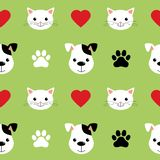 Cartoon cute cats and dogs vector seamless pattern. Good for background, wallpaper, cover, textile and card for children stock illustration