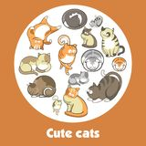Cartoon cute cats and funny kittens vector poster. Cartoon cute cats and funny kittens posing and playing vector poster Stock Images