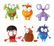 Cartoon cute character monsters vector set Stock Images