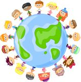 Cartoon cute children holding hands,vector Royalty Free Stock Images