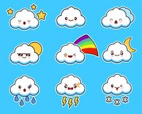 Cartoon cute cloud kawaii character with different facial expressions, emotions. Set, collection of emoji on blue. Background. Flat design illustration EPS10 Royalty Free Stock Photo