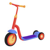 Cartoon cute color kick scooter. Push scooter isolated on white background. Eco transport for kids. Vector illustration. Cartoon cute color kick scooter. Push Royalty Free Stock Photo