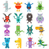 Cartoon cute color monsters aliens collection. Stock Photo