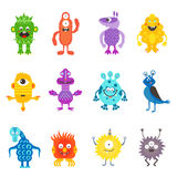 Cartoon cute color monsters aliens set.  Stock Images
