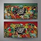 Cartoon cute  doodles Love vertical banners design Stock Images