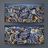 Cartoon doodles winter season banners Royalty Free Stock Photography