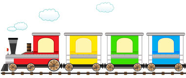 Cartoon cute colorful train in railroad. Cartoon isolated cute train with colorful carriage in railroad Stock Image
