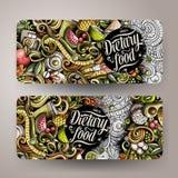 Cartoon cute colorful vector hand drawn doodles Diet food vertical banners. Cartoon cute colorful vector hand drawn doodles Diet food corporate identity. 2 Stock Image