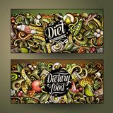 Cartoon cute colorful vector hand drawn doodles Diet food vertical banners. Cartoon cute colorful vector hand drawn doodles Diet food corporate identity. 2 Royalty Free Stock Photo