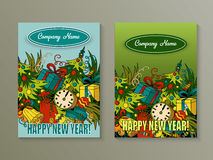 Cartoon cute colorful vector hand drawn doodles New Year season. 2 vertical flyers design. Templates set Royalty Free Stock Images