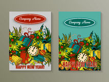 Cartoon cute colorful vector hand drawn doodles New Year season. 2 vertical flyers design. Templates set Stock Image