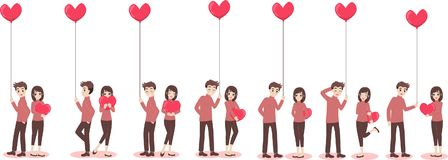 Cartoon cute couple of lover for love valentine`s day vector illustration