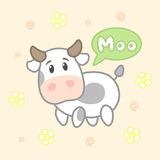 Cartoon cute cow say moo, drawing for kids.Vector illustration. Royalty Free Stock Image